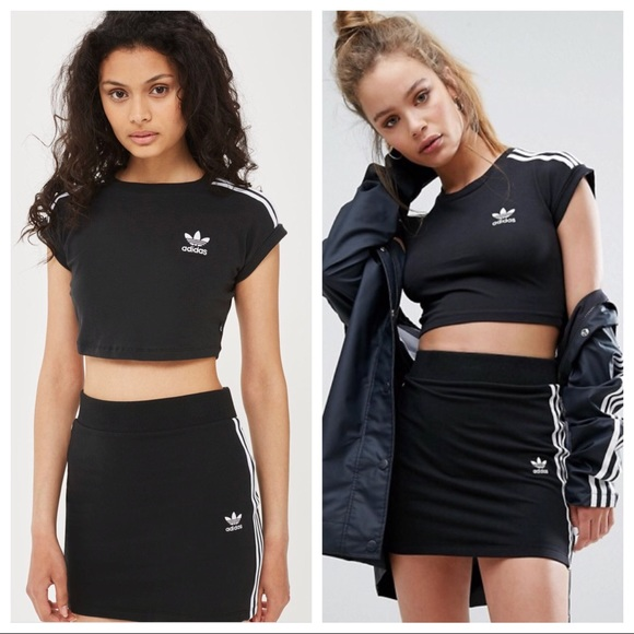 7cac4ca8491 adidas Dresses & Skirts - ADIDAS 3 STRIPE CROP TOP & MATCHING MINI SKIRT SET